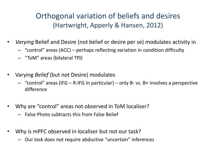 Orthogonal variation of beliefs and desires