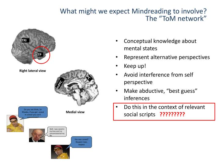 What might we expect Mindreading to involve?