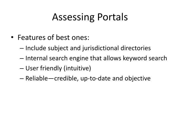 Assessing Portals