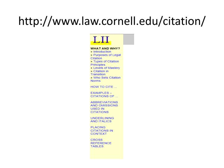 http://www.law.cornell.edu/citation/