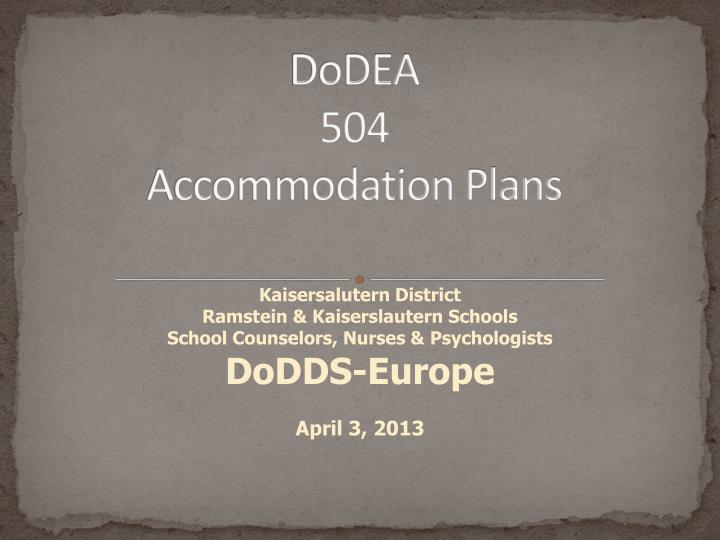Dodea 504 accommodation plans