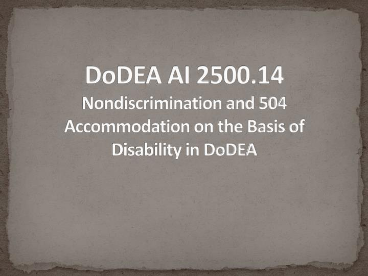 Dodea ai 2500 14 nondiscrimination and 504 accommodation on the basis of disability in dodea