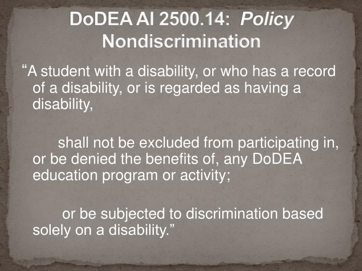 Dodea ai 2500 14 policy nondiscrimination