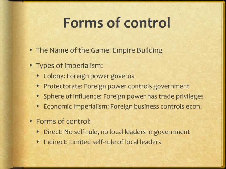 Forms of control
