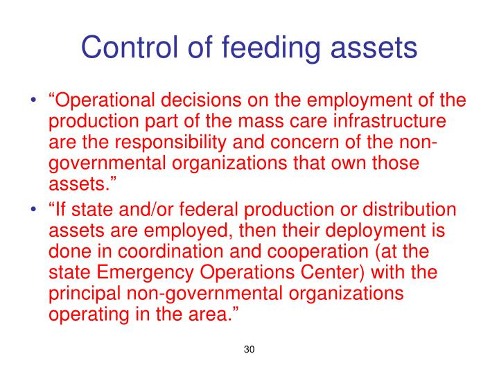 Control of feeding assets