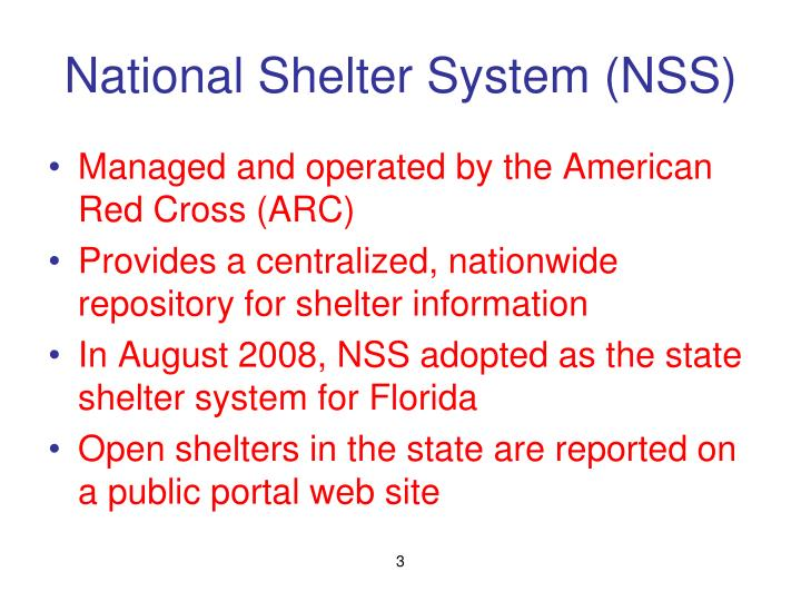 National shelter system nss