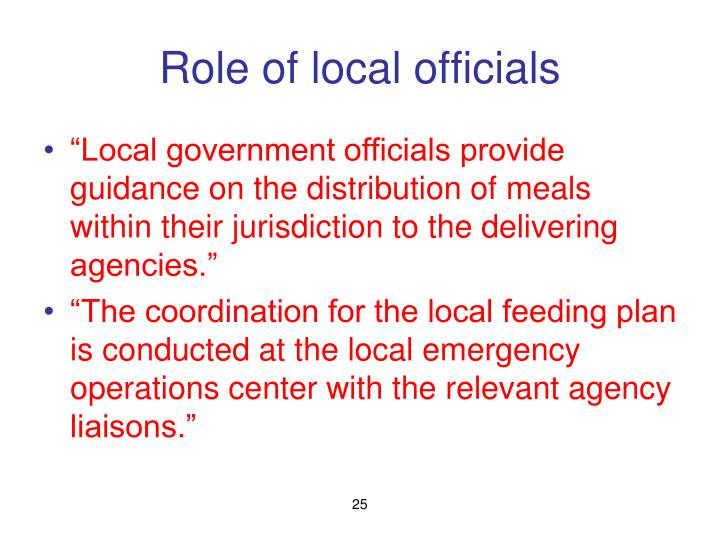 Role of local officials