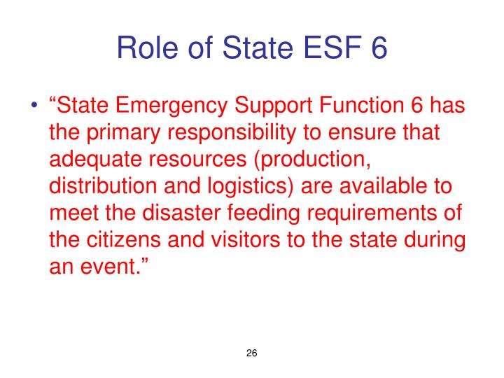 Role of State ESF 6