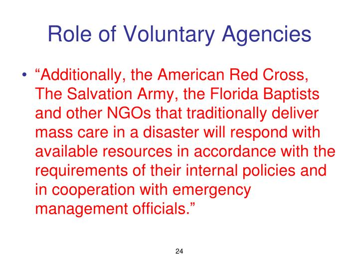 Role of Voluntary Agencies