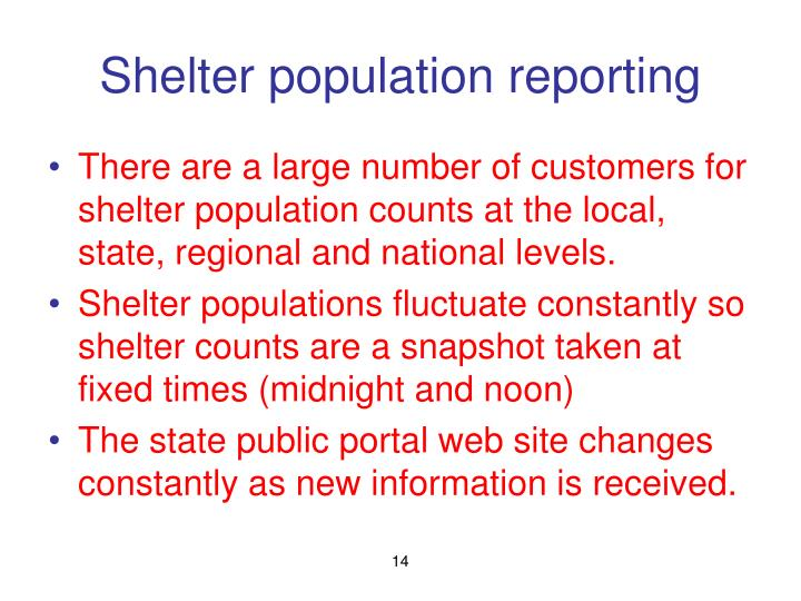 Shelter population reporting