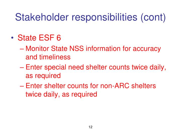 Stakeholder responsibilities (cont)