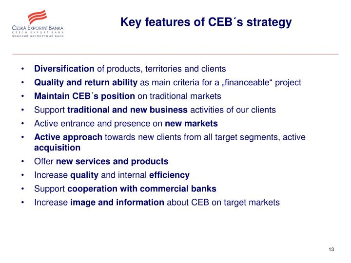 Key features of CEB