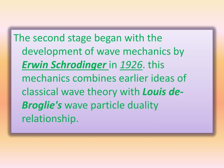 The second stage began with the development of wave mechanics by