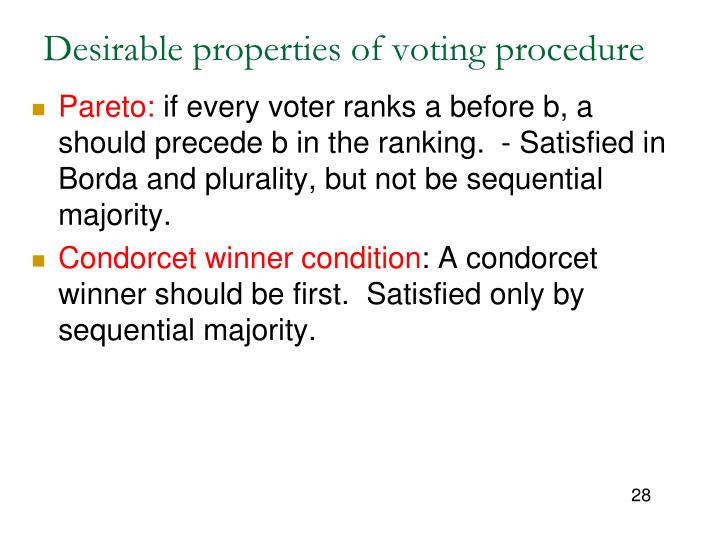 Desirable properties of voting procedure