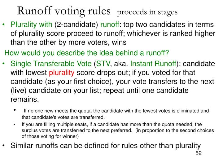 Runoff voting rules