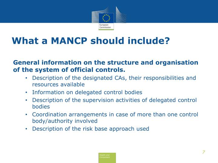 What a MANCP should include?