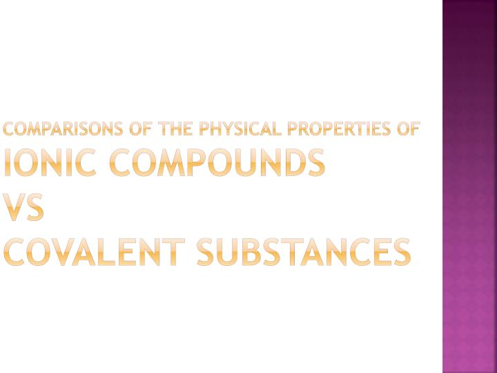 Comparisons of the Physical Properties of