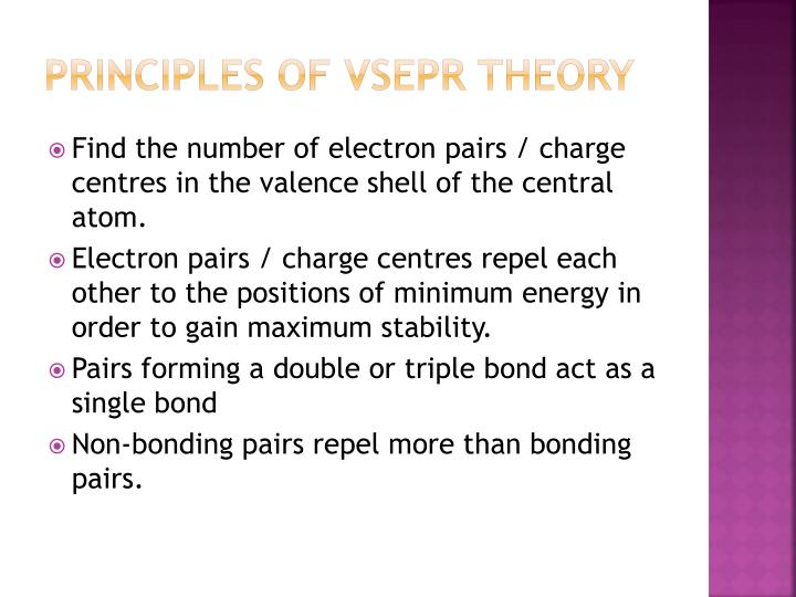 Principles of VSEPR theory