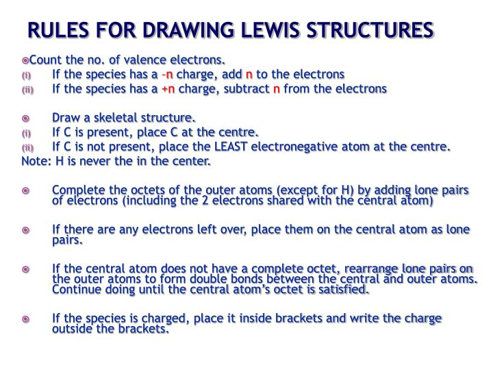 RULES FOR DRAWING LEWIS STRUCTURES