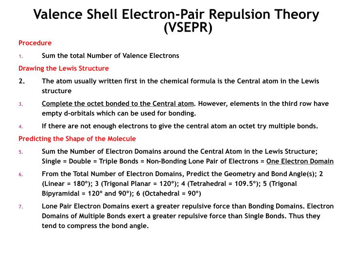 Valence Shell Electron-Pair Repulsion Theory (VSEPR)