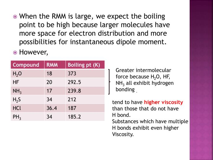 When the RMM is large, we expect the boiling point to be high because larger molecules have more space for electron distribution and more possibilities for instantaneous dipole moment.