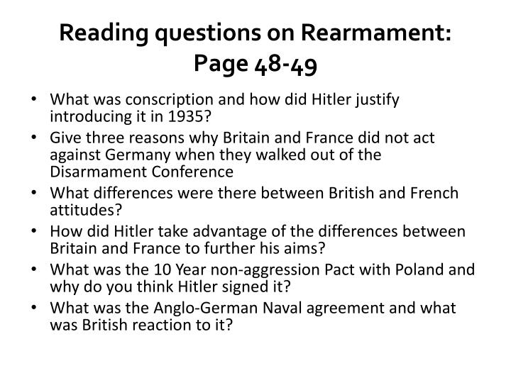 Reading questions on Rearmament: Page 48-49