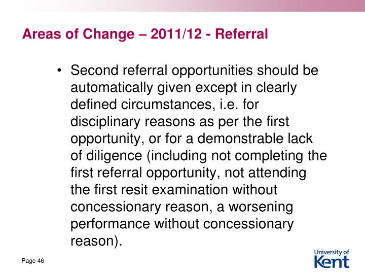 Areas of Change – 2011/12 - Referral