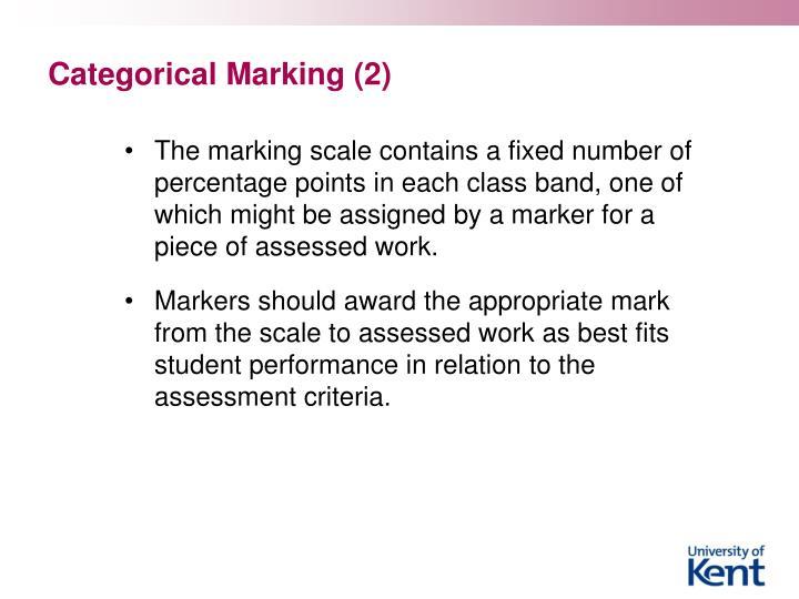 Categorical Marking (2)