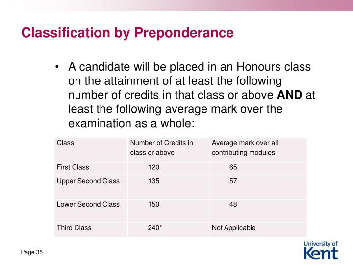 Classification by Preponderance