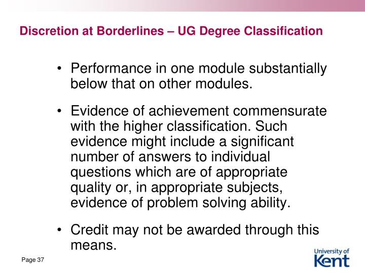 Discretion at Borderlines – UG Degree Classification