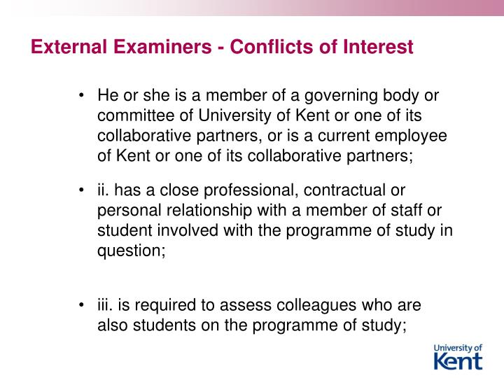 External Examiners - Conflicts of Interest
