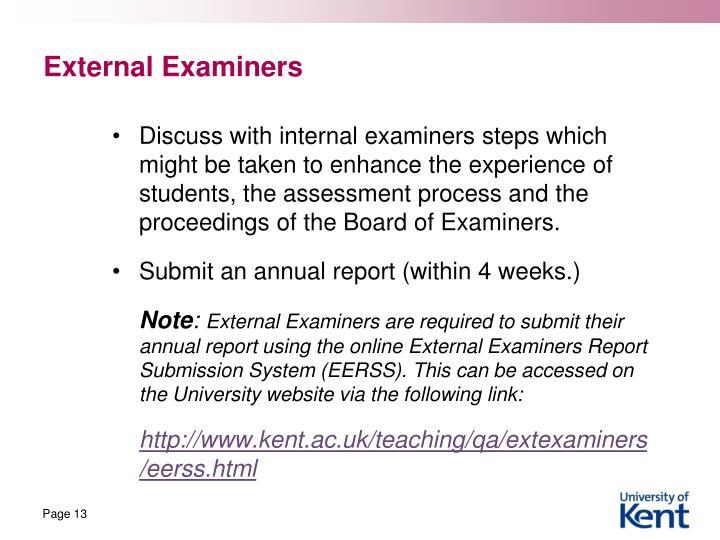 External Examiners