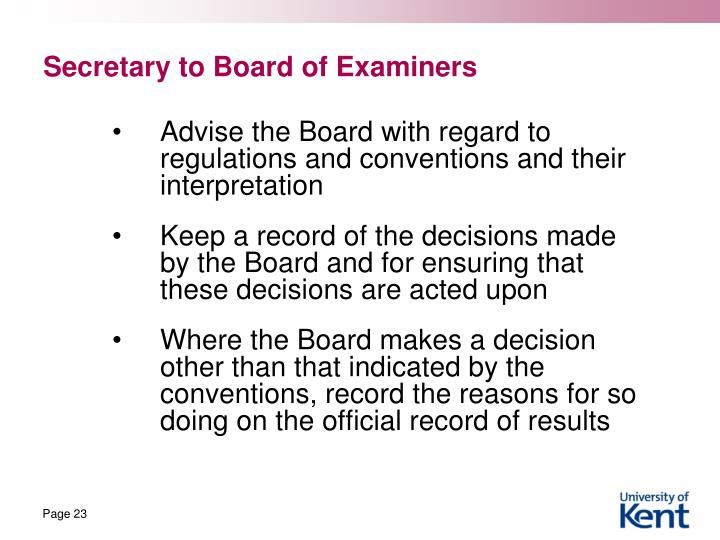 Secretary to Board of Examiners