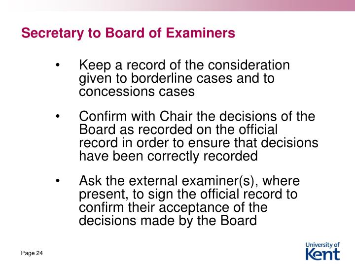Secretary to Board of Examiners