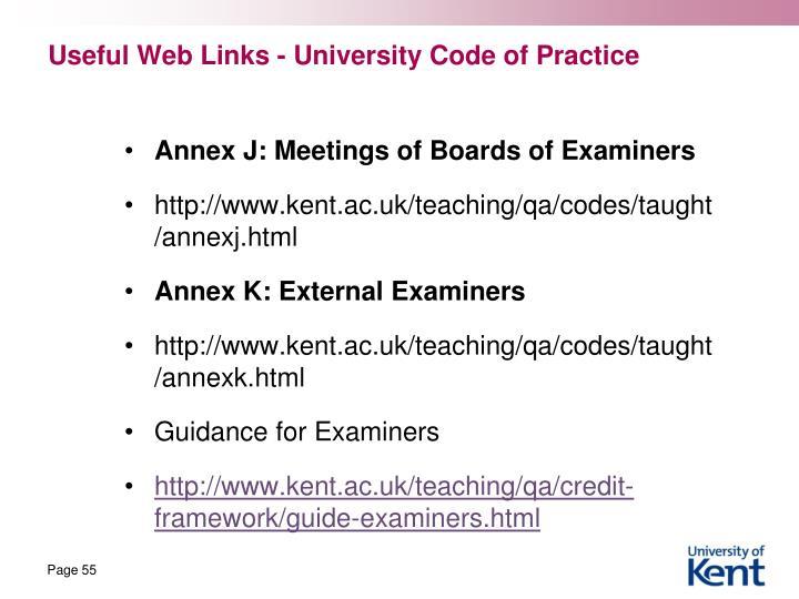 Useful Web Links - University Code of Practice