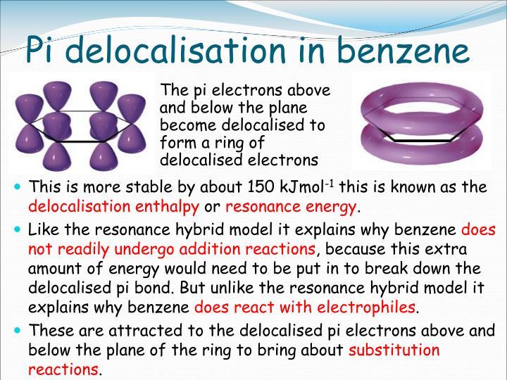 Pi delocalisation in benzene