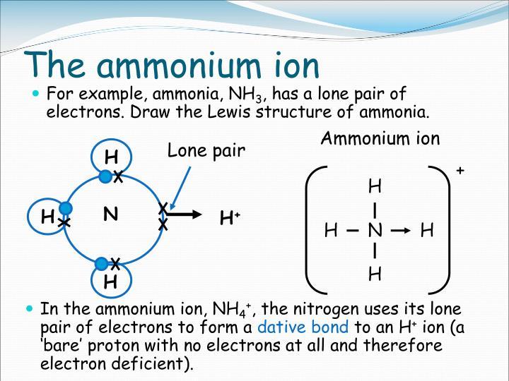 The ammonium ion