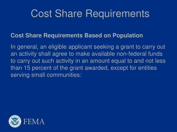 Cost Share Requirements
