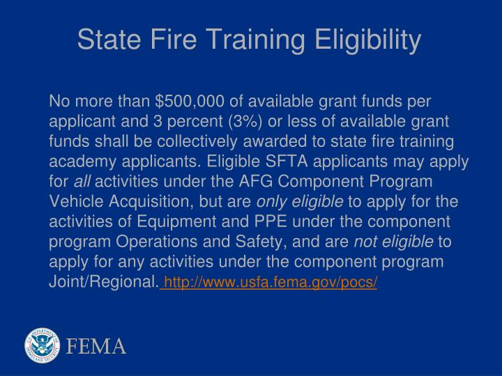 State Fire Training Eligibility