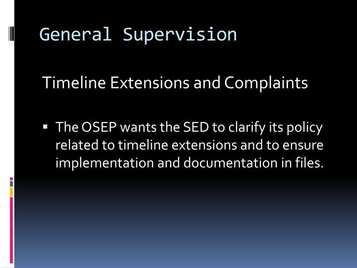 General Supervision