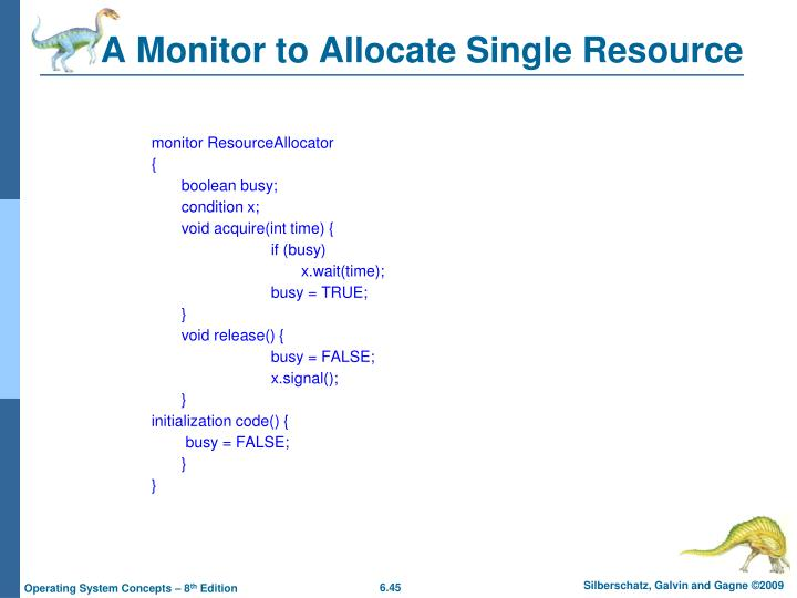 A Monitor to Allocate Single Resource