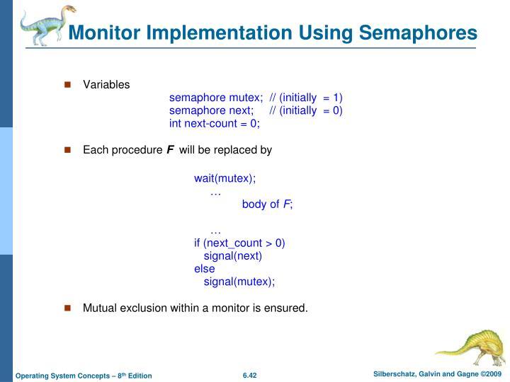 Monitor Implementation Using Semaphores