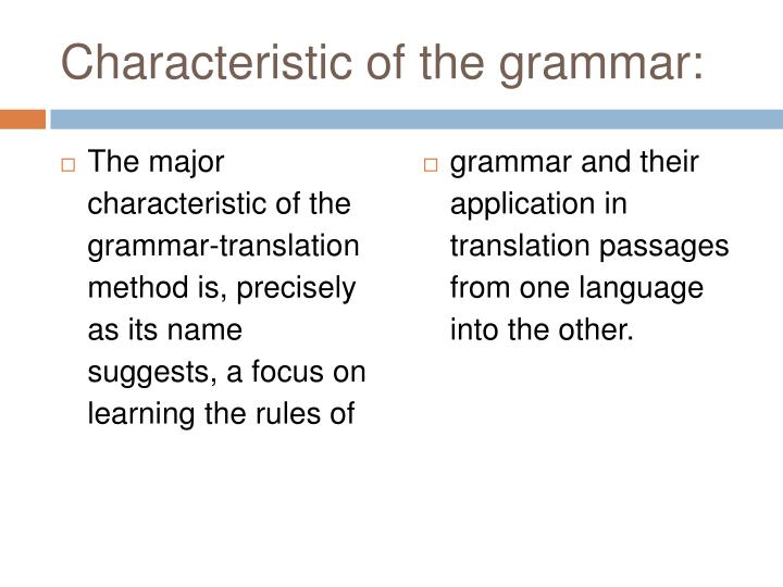 Characteristic of the grammar