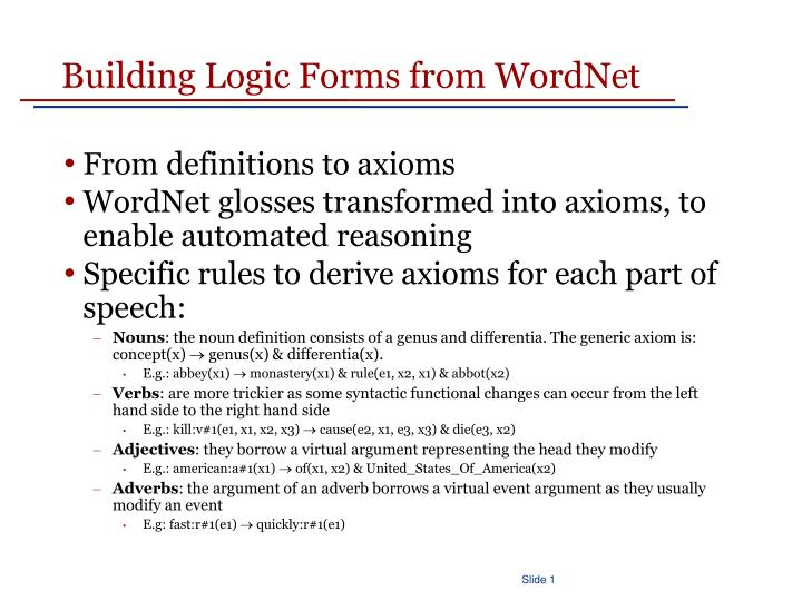 Building Logic Forms from WordNet