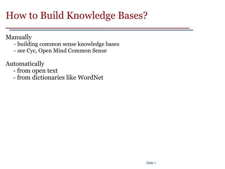 How to Build Knowledge Bases?