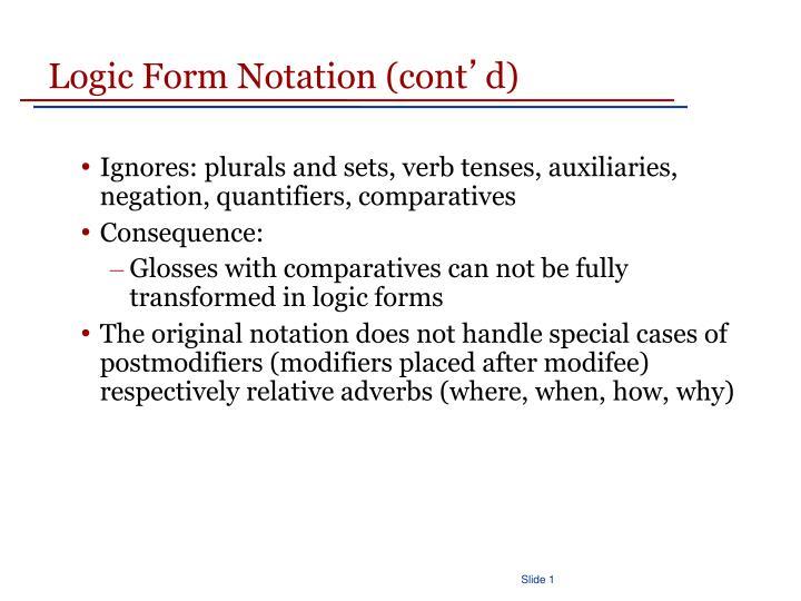 Logic Form Notation (cont