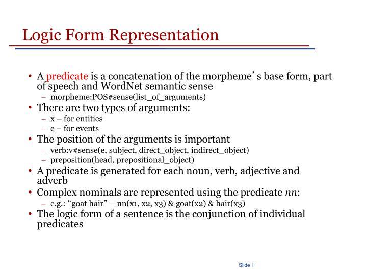 Logic Form Representation