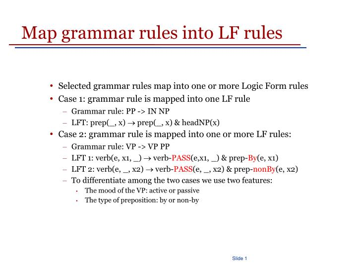 Map grammar rules into LF rules