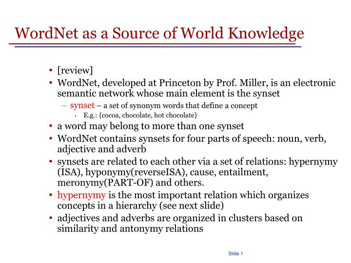 WordNet as a Source of World Knowledge