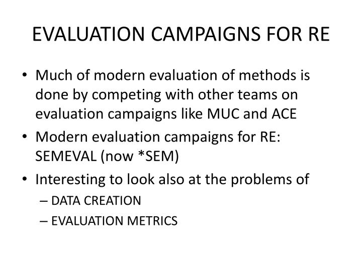 EVALUATION CAMPAIGNS FOR RE